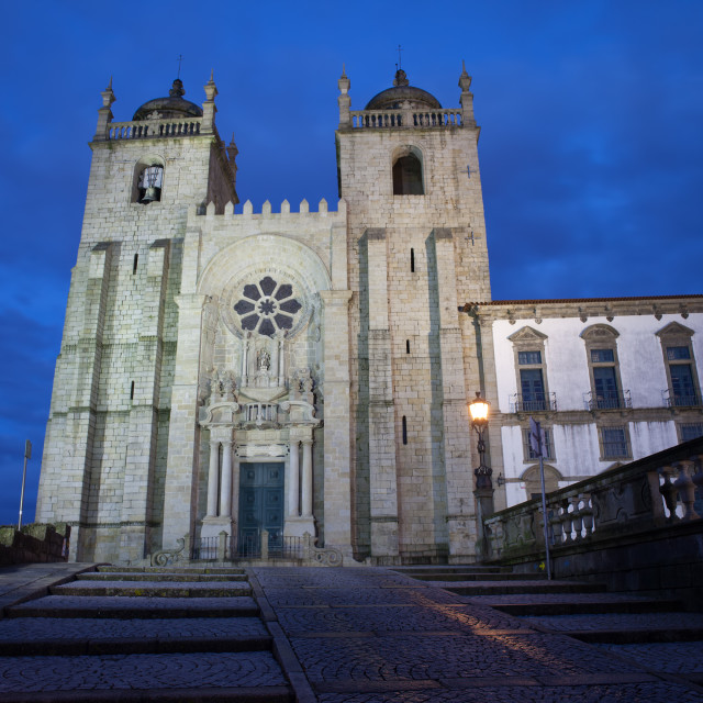 """Porto Cathedral by Night in Portugal"" stock image"