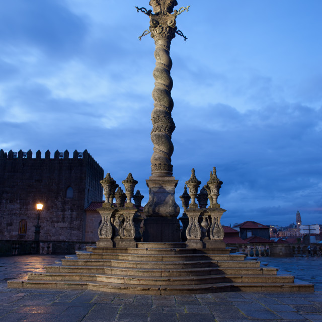 """Pillory Twisted Column in Porto by Night"" stock image"