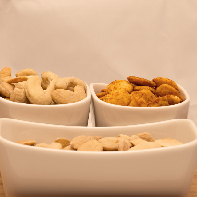 """Assorted nuts cashew and almond"" stock image"