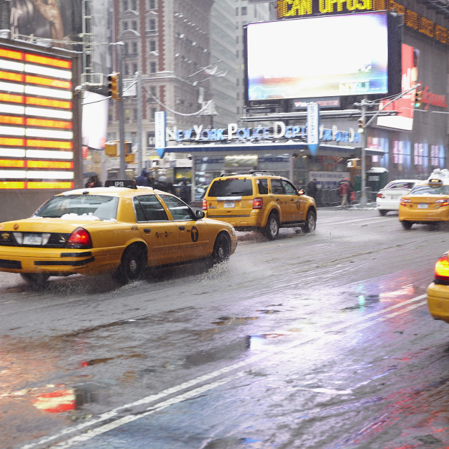 """Yellow taxis on Time Square"" stock image"