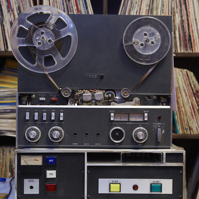 """""""Collection of vinyl LP records and tape recorder"""" stock image"""
