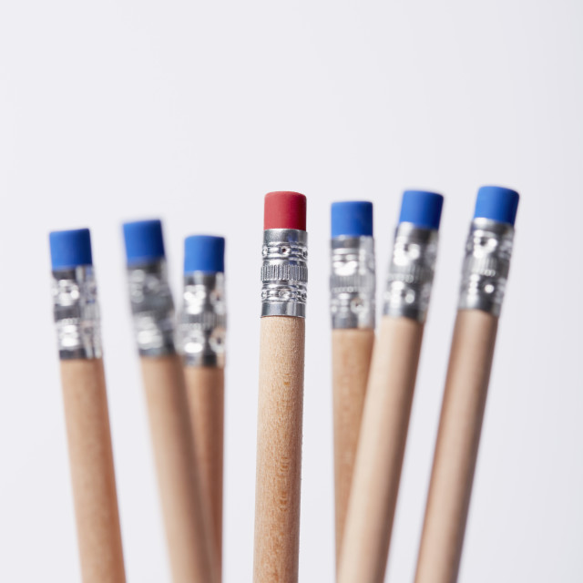 """""""Wooden pencils, one with red eraser"""" stock image"""