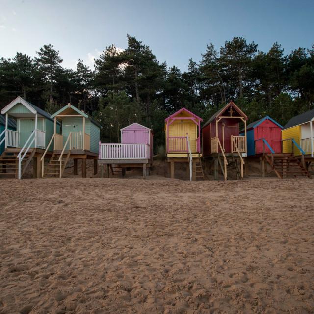 """Beach huts at Holkham, Norfolk"" stock image"