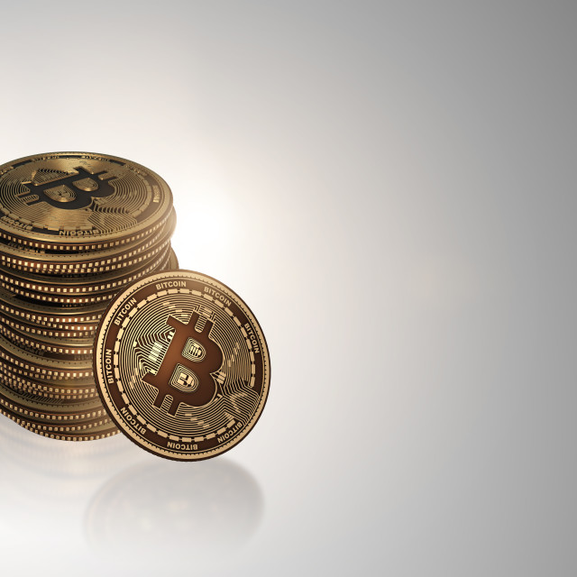 """""""Bitcoins in blockchain cryptocurrency concept"""" stock image"""