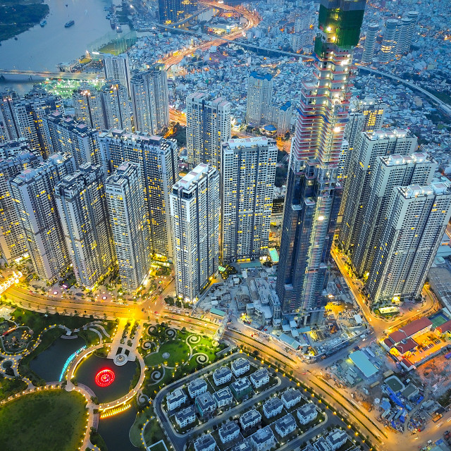 """Vinhomes Central Park Tan Cang city at night 0055"" stock image"