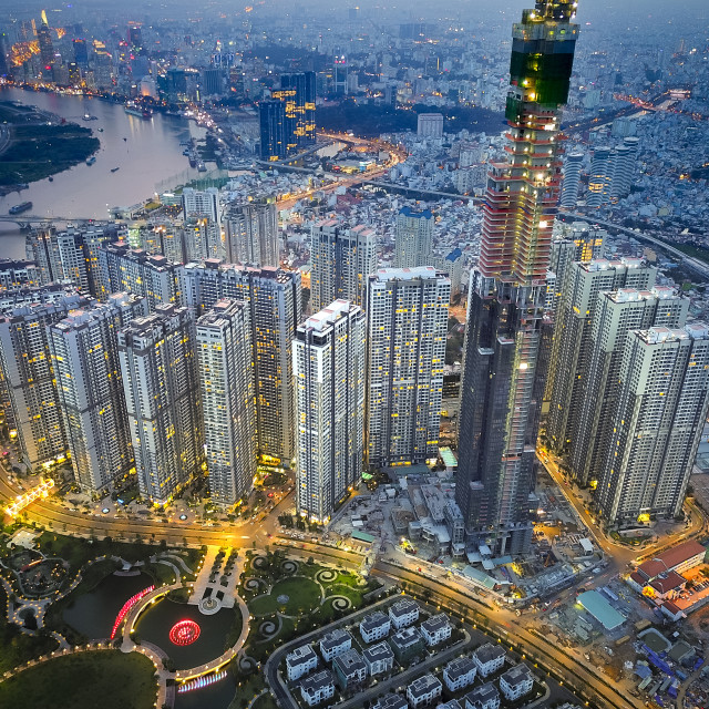 """Vinhomes Central Park Tan Cang city by night 0046"" stock image"