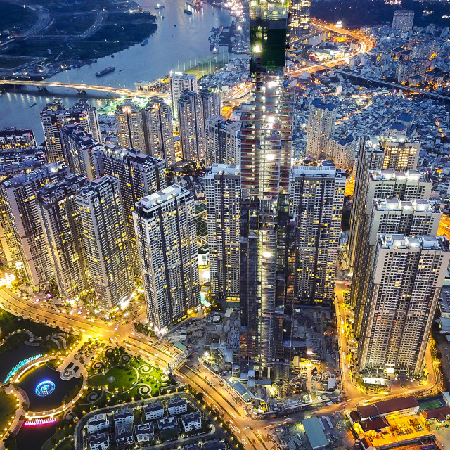 """Vinhomes Central Park Tan Cang city by night 0076"" stock image"