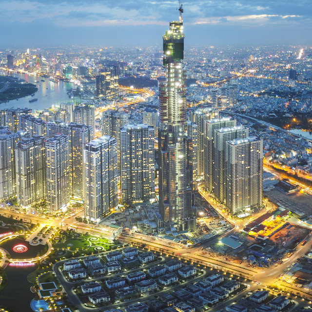 """Vinhomes Central Park Tan Cang by night 0092 Pano"" stock image"