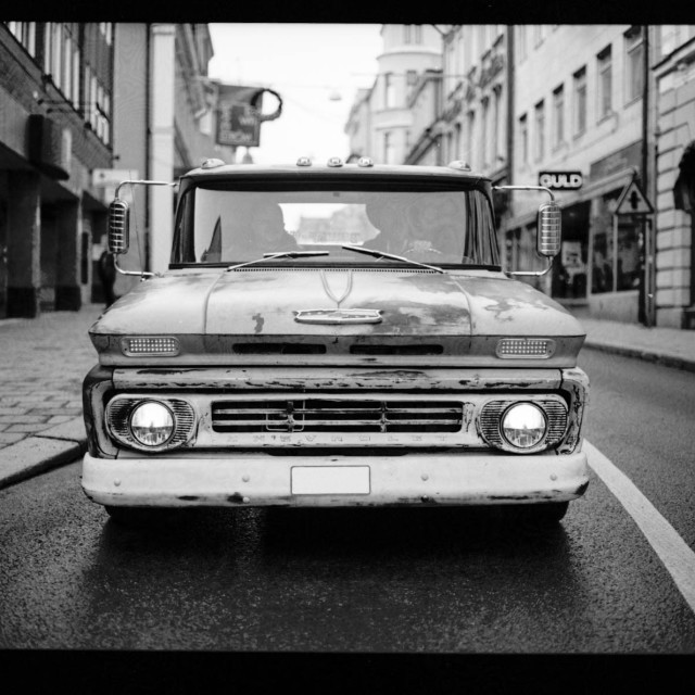 """Chevrolet old pickup truck in black and white taken on film"" stock image"