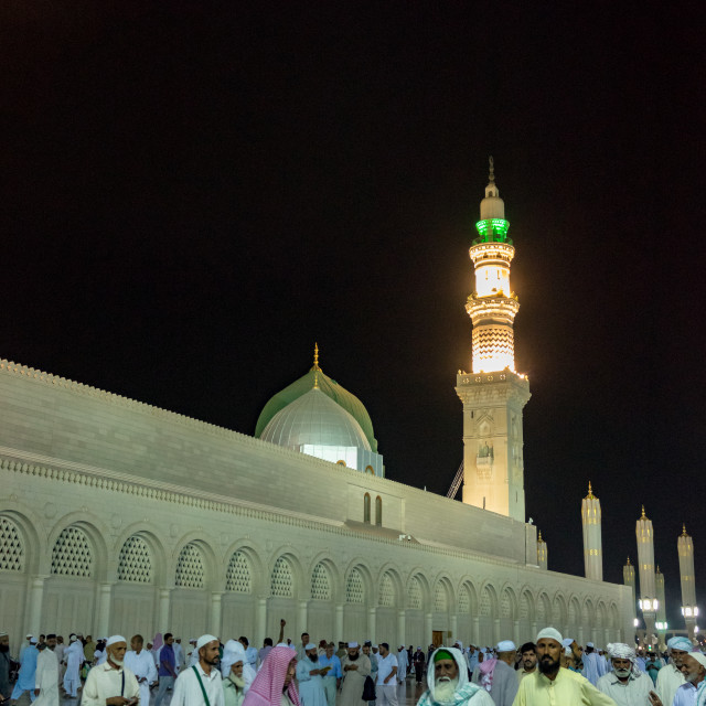 """""""External night view of Mosque Al-Nabawi"""" stock image"""