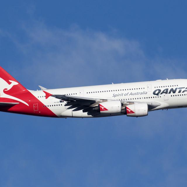 """4B9A2818 A380 VH-OQE 180107 EGLL"" stock image"