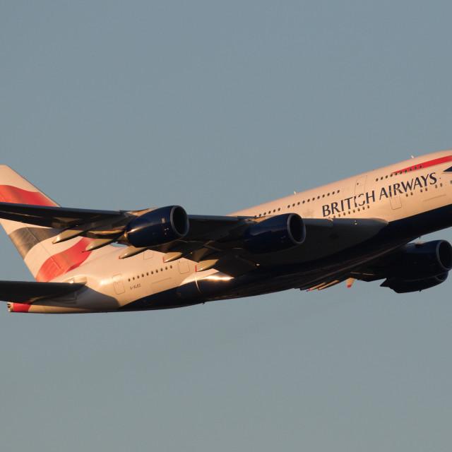 """""""4B9A3608 A380 G-XLEC 180107 EGLL"""" stock image"""