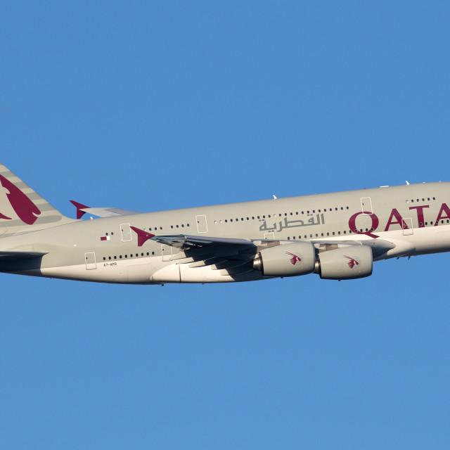 """4B9A3466 A380 A7-APD 180108 EGLL"" stock image"