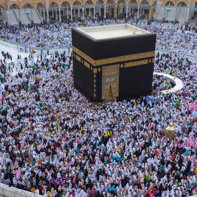 """""""Muslim pilgrims circumambulate or """"tawaf"""" the Kaabah"""" stock image"""
