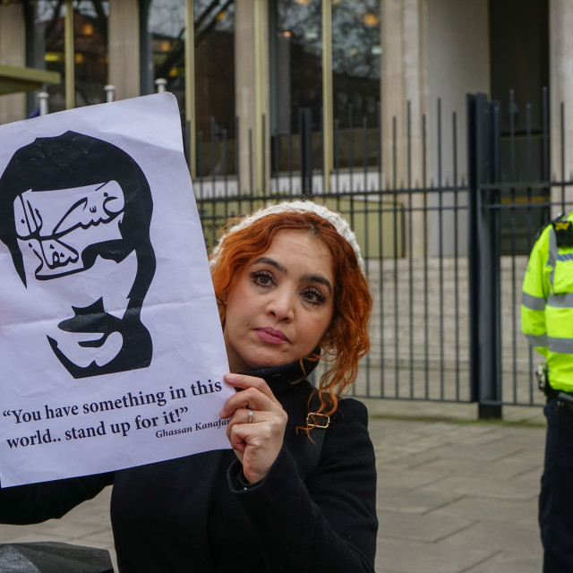 """""""Protest in support of Ahed and Palestinian Child prisoners outside US..."""" stock image"""