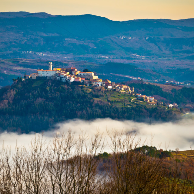 """Town of Motovun above fog and istrian landscape view"" stock image"