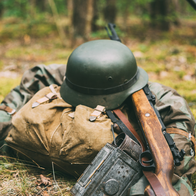 """German Ammunition Of World War II On Ground. Military Helmet, Lights, Rifle"" stock image"