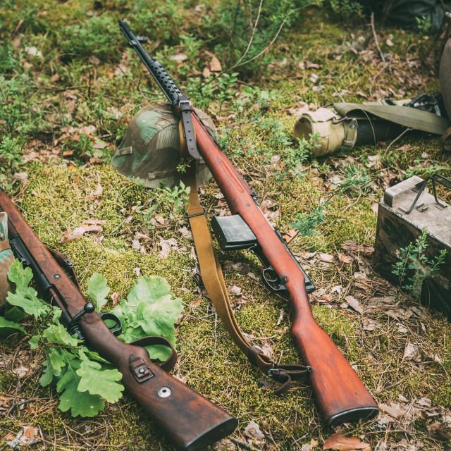 """Soviet and German rifles of World War II - SVT 40 and Mauser Karabiner 98k"" stock image"