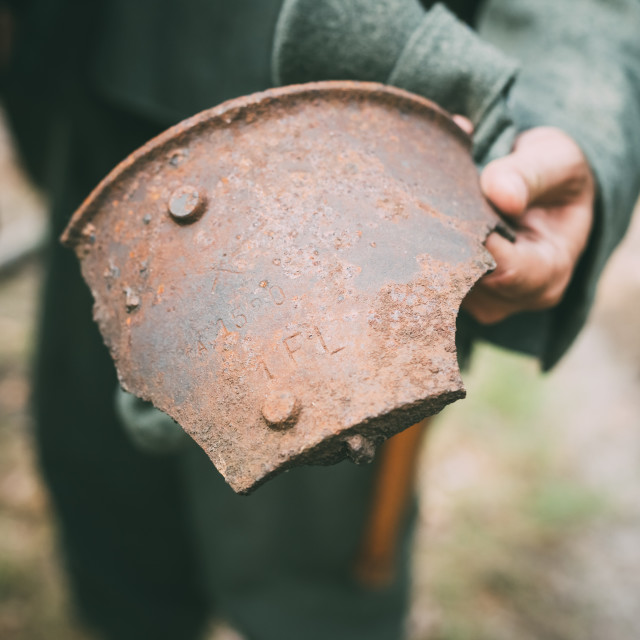 """Rusty Shell Fragment Found In Belarusian Forest On Battlefield Of World War II"" stock image"