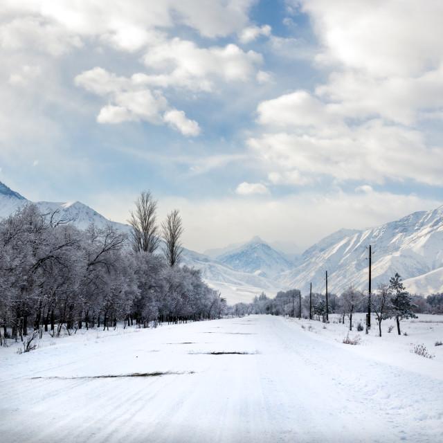 """Mountain scene, Kyrgyzstan"" stock image"