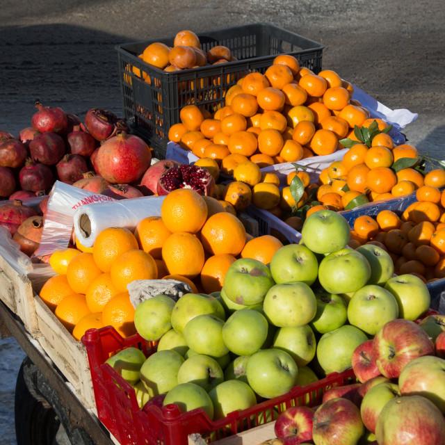 """Fruit Stall in Bishkek, Kyrgyzstan"" stock image"