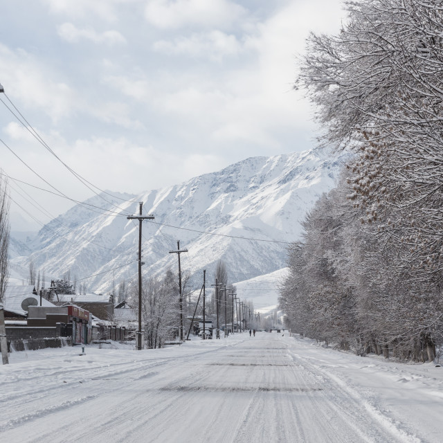 """Icy road, Kyrgyzstan"" stock image"
