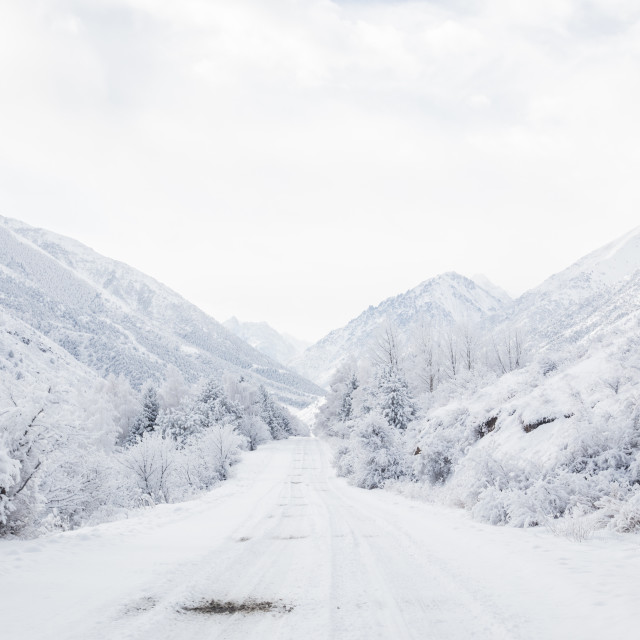 """""""Icy Road, Kyrgyzstan"""" stock image"""