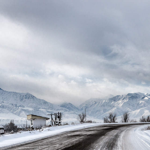 """Mountain winter landscape, Kyrgyzstan"" stock image"