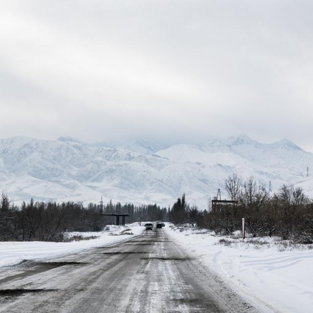 """Mountain winter landscape, Kyrgyzstan"" stock image"