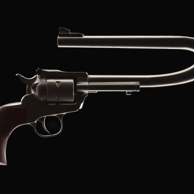 """""""Revolver with a bent barrel"""" stock image"""