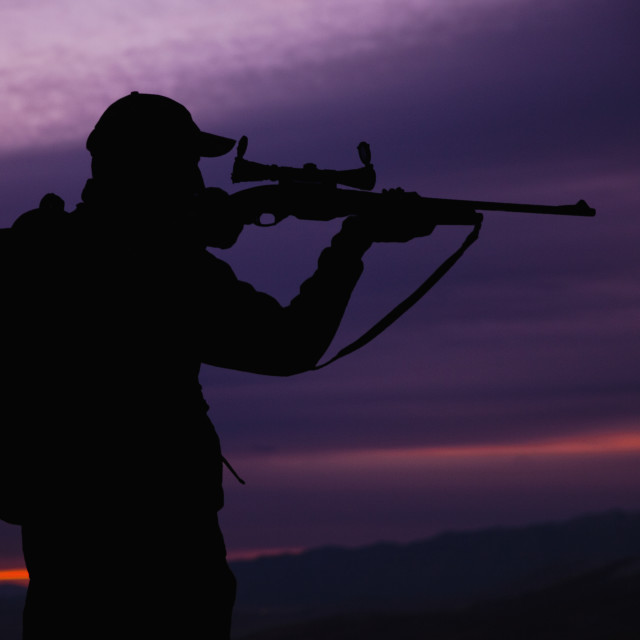 """""""Hunter looking through scope of rifle"""" stock image"""