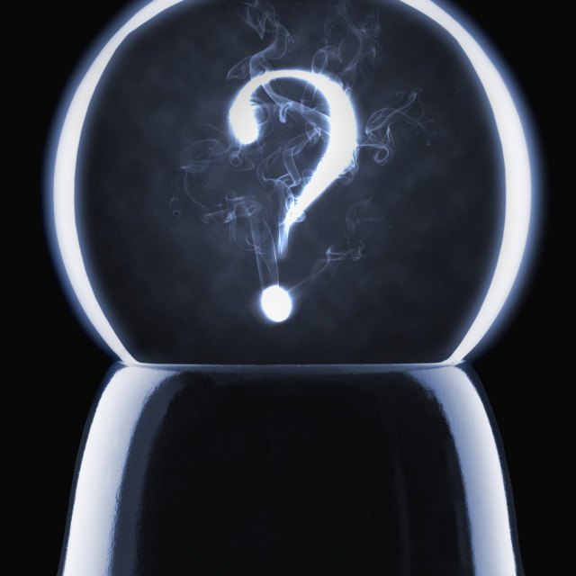 """""""Studio shot of crystal ball showing question mark"""" stock image"""