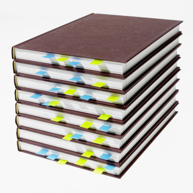 """""""Studio shot of heap of books with index cards"""" stock image"""
