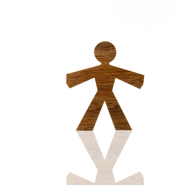 """Studio shot of wood grain stick figure"" stock image"