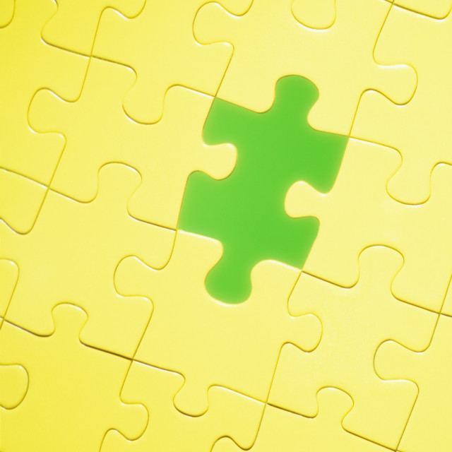 """Yellow and green puzzle"" stock image"