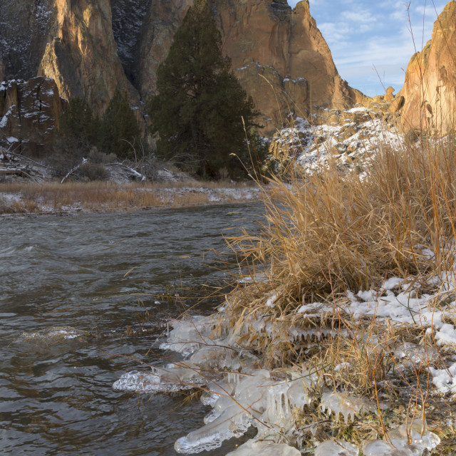 """River and rock formation in winter"" stock image"