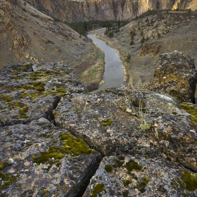 """""""USA, Oregon, Smith Rock State Park, Rocky landscape with river view"""" stock image"""