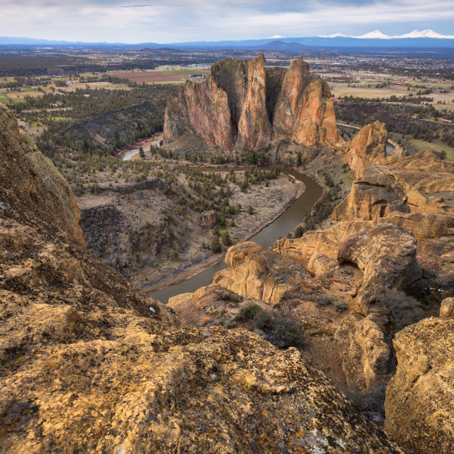 """""""USA, Oregon, Deschutes County, Rocky landscape with view on river"""" stock image"""