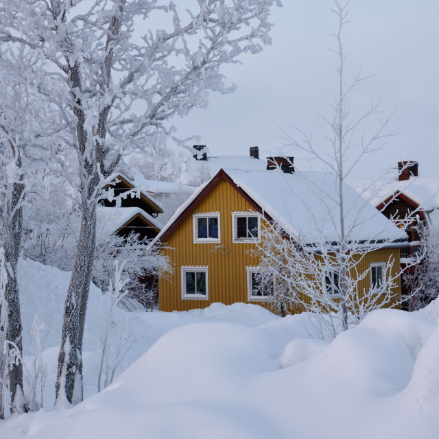 """""""House in deep snow"""" stock image"""