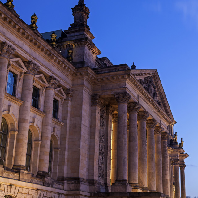 """Moon over Bundestag building at dusk"" stock image"