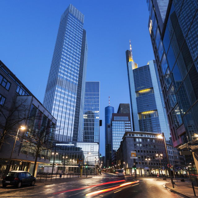 """""""Illuminated city street with skyscrapers"""" stock image"""