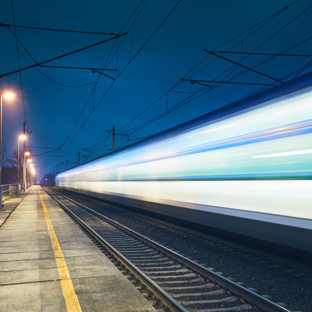 """Light trail of the train"" stock image"