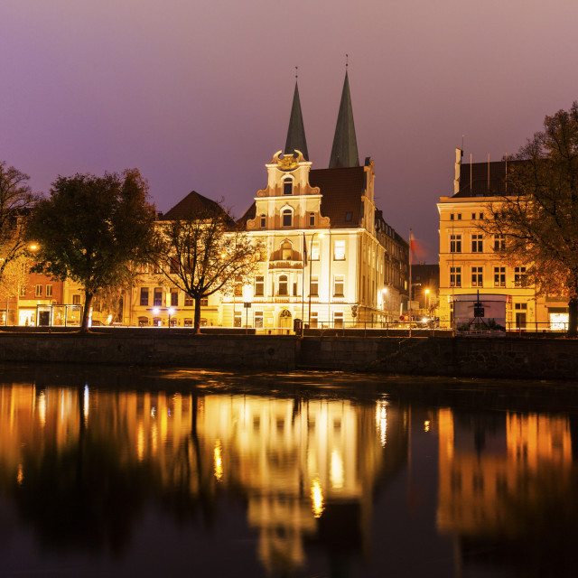 """""""Architecture of Lubeck across Trave River Lubeck, Schleswig-Holstein, Germany"""" stock image"""