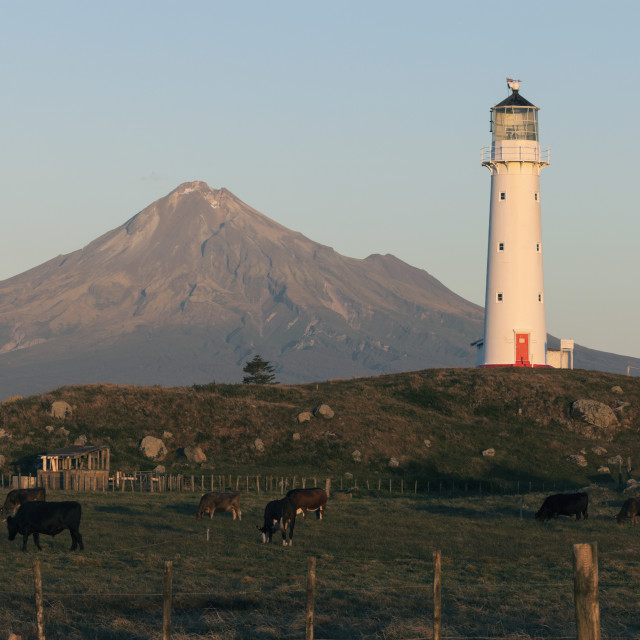 """Mount Taranaki and lighthouse at sunset"" stock image"