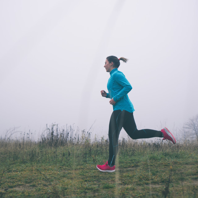 """""""Woman Running Outdoors"""" stock image"""