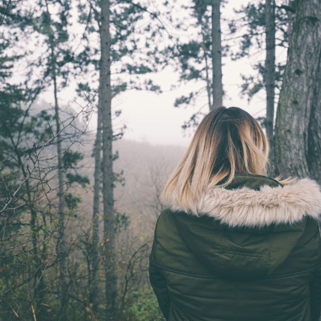 """""""Woman in Forest Back View"""" stock image"""