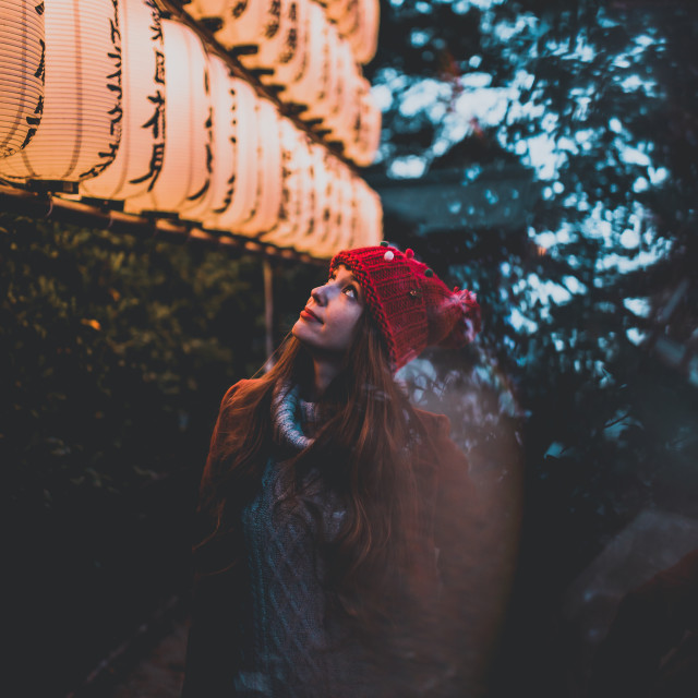 """The girl by the lanterns"" stock image"