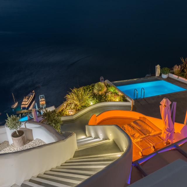 """Oia Santorini over the moonlight"" stock image"