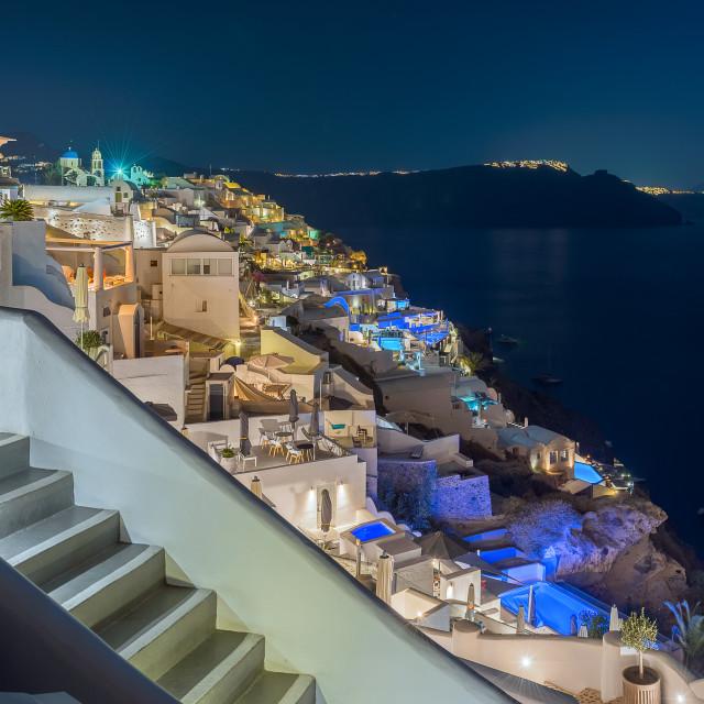 """Beautiful Oia village at night"" stock image"