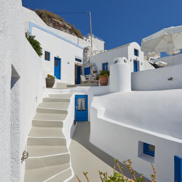 """Traditional house at Imerovigli"" stock image"